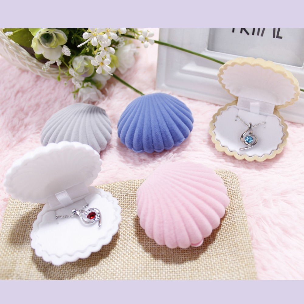 1pc Velvet Blue/Pink/Grey/White Shell Shape Jewelry Box Earrings Ring Jewelry Packaging Display Gift Storage Box