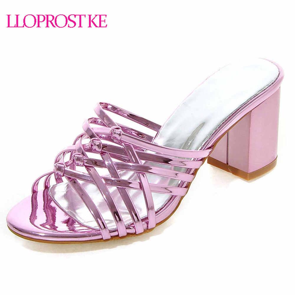 Lloprost ke女性サンダル夏ハイヒールピンクゴールドシルバー靴セクシーな厚いかかとスリップオンレディパーティー靴ビッグサイズ32-43 MY560