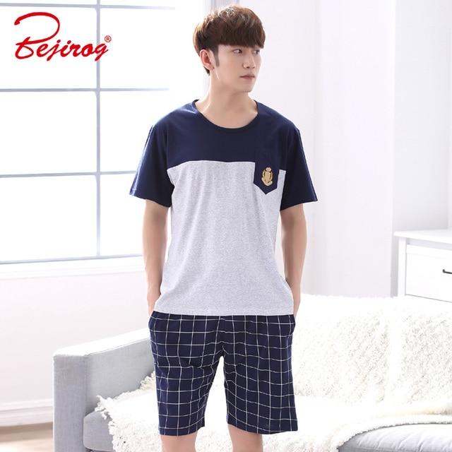 Bejirog Nightwear Men Pajamas Set Casual Nighties Cotton Sleepwear Suit Short  Sleeved 866ab5e31