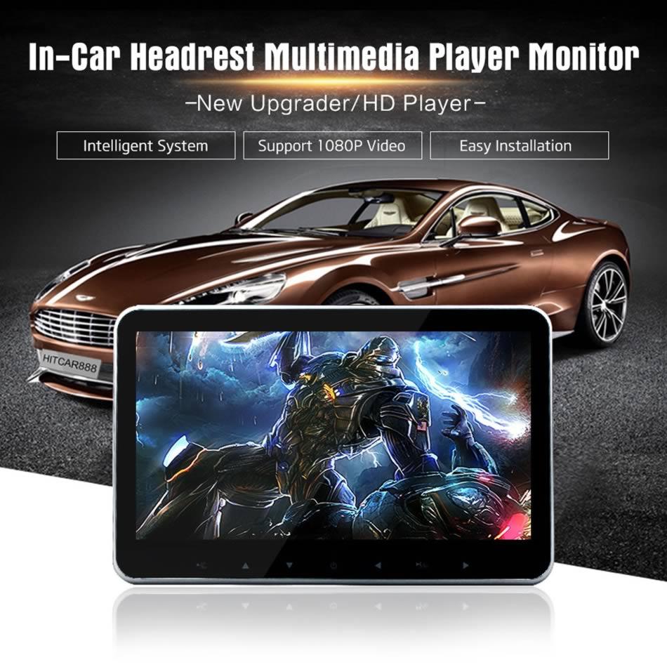 سوبر سليم 10 بوصة سيارة مسند الرأس الوسائط المتعددة MP4 MP5 مشغل فيديو HD شاشة رصد مع USB SD HDMI AV فتحة و FM الارسال-في شاشات السيارات من السيارات والدراجات النارية على AliExpress