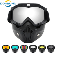 Cycling Face Mask Men Ski Snowboard Mask Winter Ski Snowmobile Windproof Skiing Glasses Motocross Sunglasses with Mouth Filter