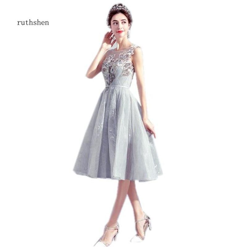 ruthshen Tea Length Grey   Bridesmaid     Dresses   Illusion Scoop neckline Robe De Mariee Wedding Party   Dress   Cheap 2018 New Arrival