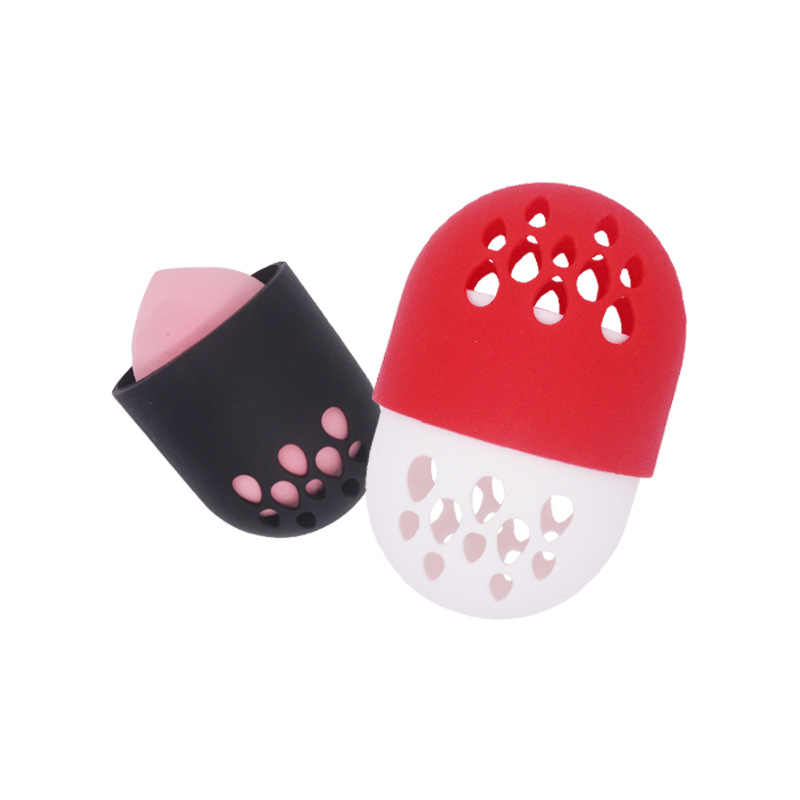 Six couleurs Silicone beauté oeuf stockage Rack mignon Silicone bouffée Capsule anti-poussière respirant maquillage oeuf voyage Portable stockage