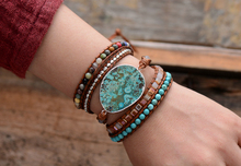 Leather Bracelet with Natural Stones
