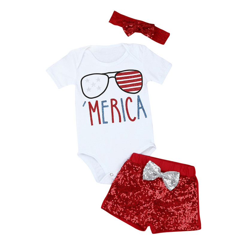 baby clothes 2017 fashion Newborn Baby Girl 4th Of July Patriotic Romper Shorts Pants Clothes Outfits Set 4th july america flag style stripe pettiskirt white ruffle tank top 2pc set 1 8year mamg1143
