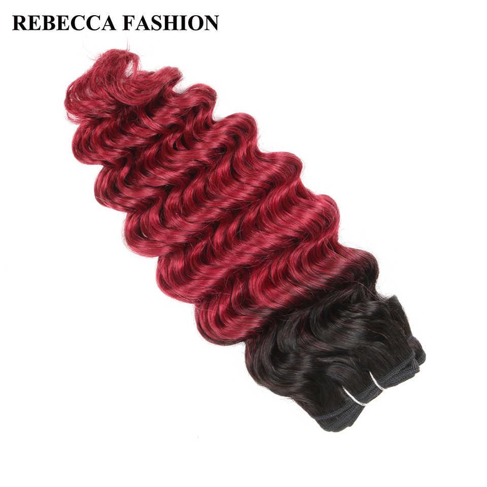 Rebecca brasileño de la onda profunda Remy mechones de cabello humano postizo 100g Ombre color salón extensiones de cabello T1b/rojo borgoña