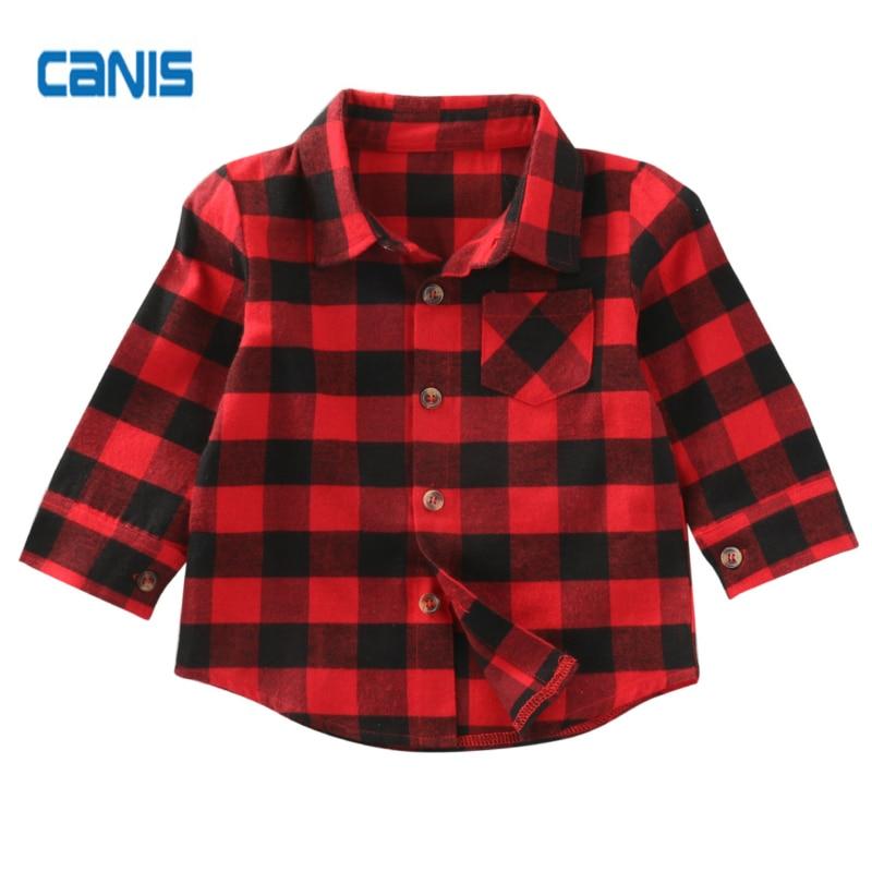Jungen Kleidung Kind Baumwolle Plaid Neue Heiße Mode-design Schöne Checked Shirts Kind Mädchen Jungen Langarmshirts Button Down 1-7y Mutter & Kinder
