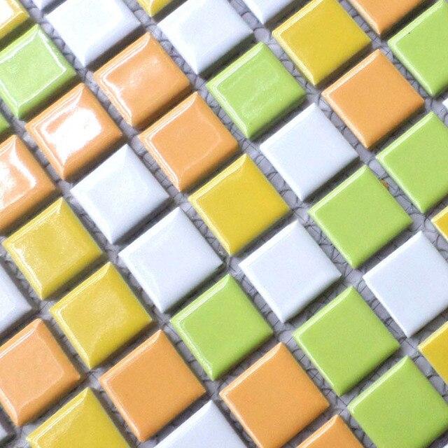 Blanc jaune orange vert porcelaine tuiles HMCM1028 pour salle de ...