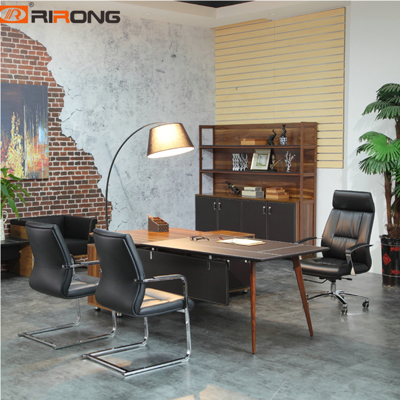 Antique Loft Style Wooden Walnut Veneeer With Leather Antique Office Study Home Executive Ceo Table Desk