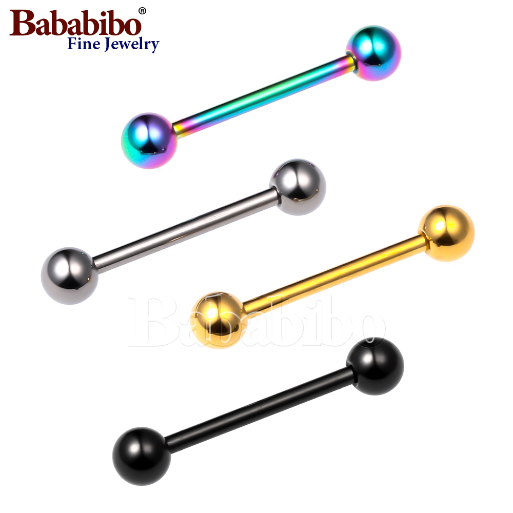 100% Titanium Tongue Rings Balls 14G 1.6mm Piercing Body Smycken - Märkessmycken