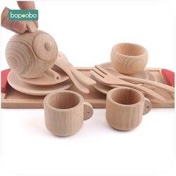 Bopoobo Posate di Legno Giochi di imitazione Tea Set di Legno Educativi Attività Montessori Bambino Gioco Ispirato Giocattoli Del Bambino Massaggiagengive