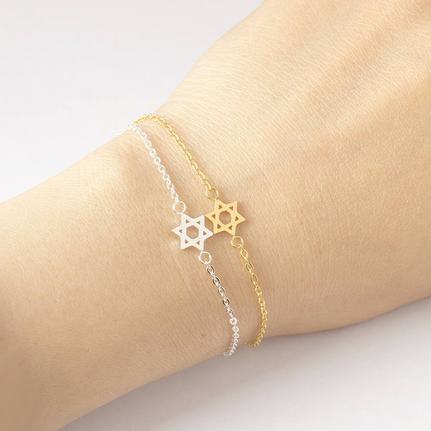 Jewish Jewelry Magen Star Of David Charm Bracelets For Women Bff Gifts Bijoux Femme Stainless Steel Gold Color Pulseira Feminina