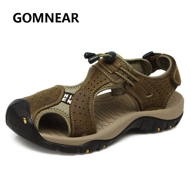GOMNEAR 2018 Hot Sälj Mäns Sommar Coola Sandaler Slipstark Högkvalitativ Läder Topp Skydda Skidmotstånd Strand Sandaler För Män