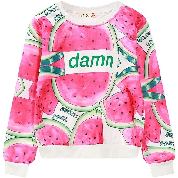 267140327c80 Women Graphic Sweatshirt 2017 HARAJUKU allover watermelon print pullover  for woman ladies lightweight casual short cropped top