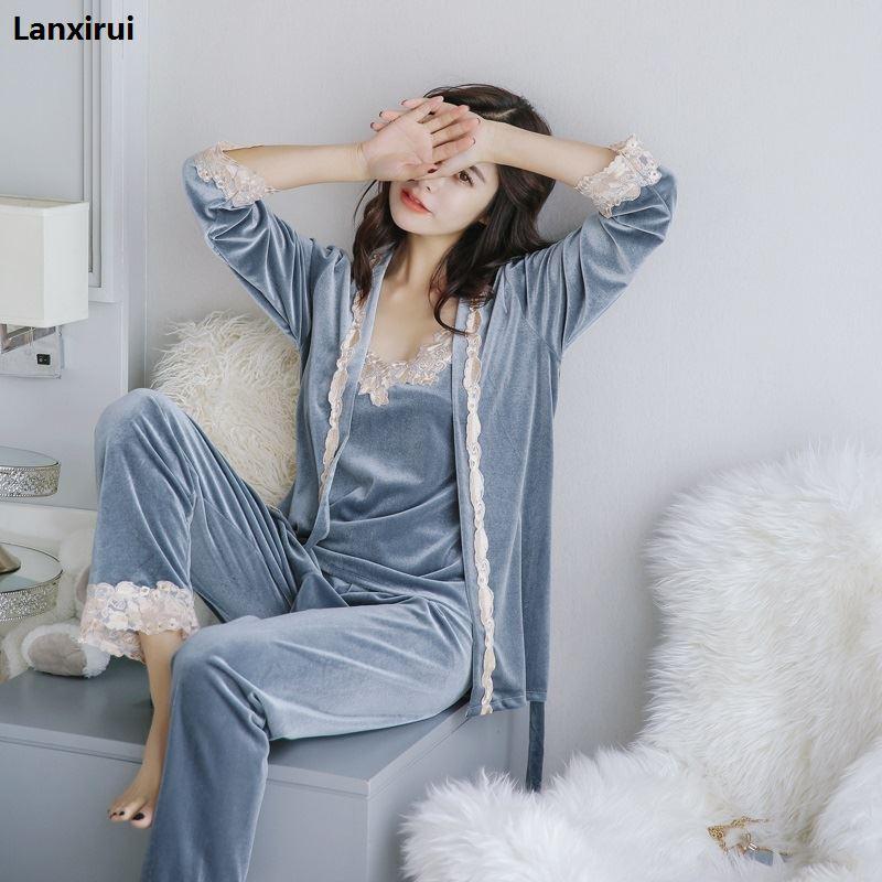 Spring 3 Three-piece Set Sexy Bathrobe Women 2018 Lace Flannel Pajamas Set Nightgown Set Sleepwear Pajamas Feminino Pyjama Suits