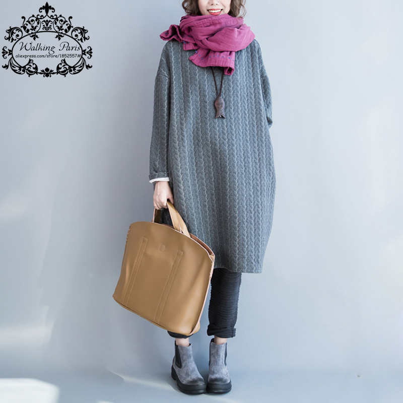 Autumn Plus Size Women Dress Cotton Full Sleeve Long Grey Casual Tops Tees Striped Print Solid
