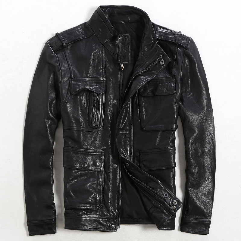 2017 New Men Black Leather Jacket High Quality Genuine Sheepskin Stand Collar Casual Slim Fit Russian Winter Coats