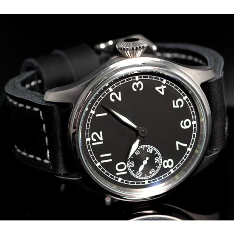 47mm parnis big vintage black dial ST 6497 Mechanical manual wind mens watch P90