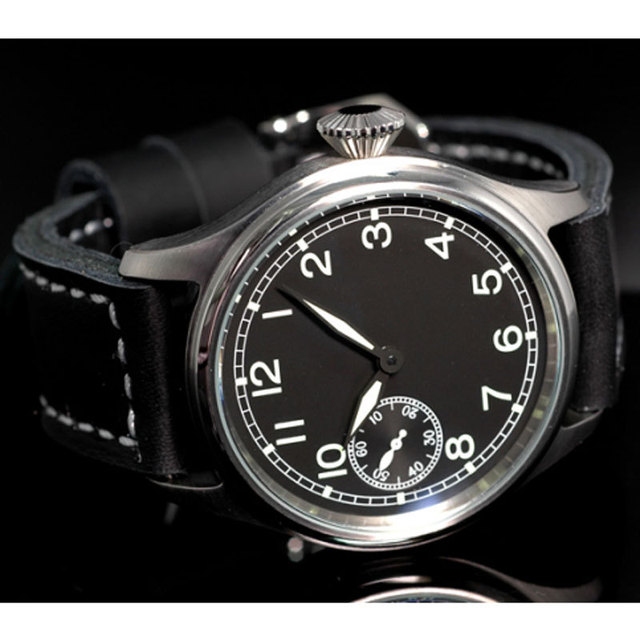 83b3b29927f 47mm parnis big vintage black dial ST 6497 Mechanical manual wind mens watch  P90
