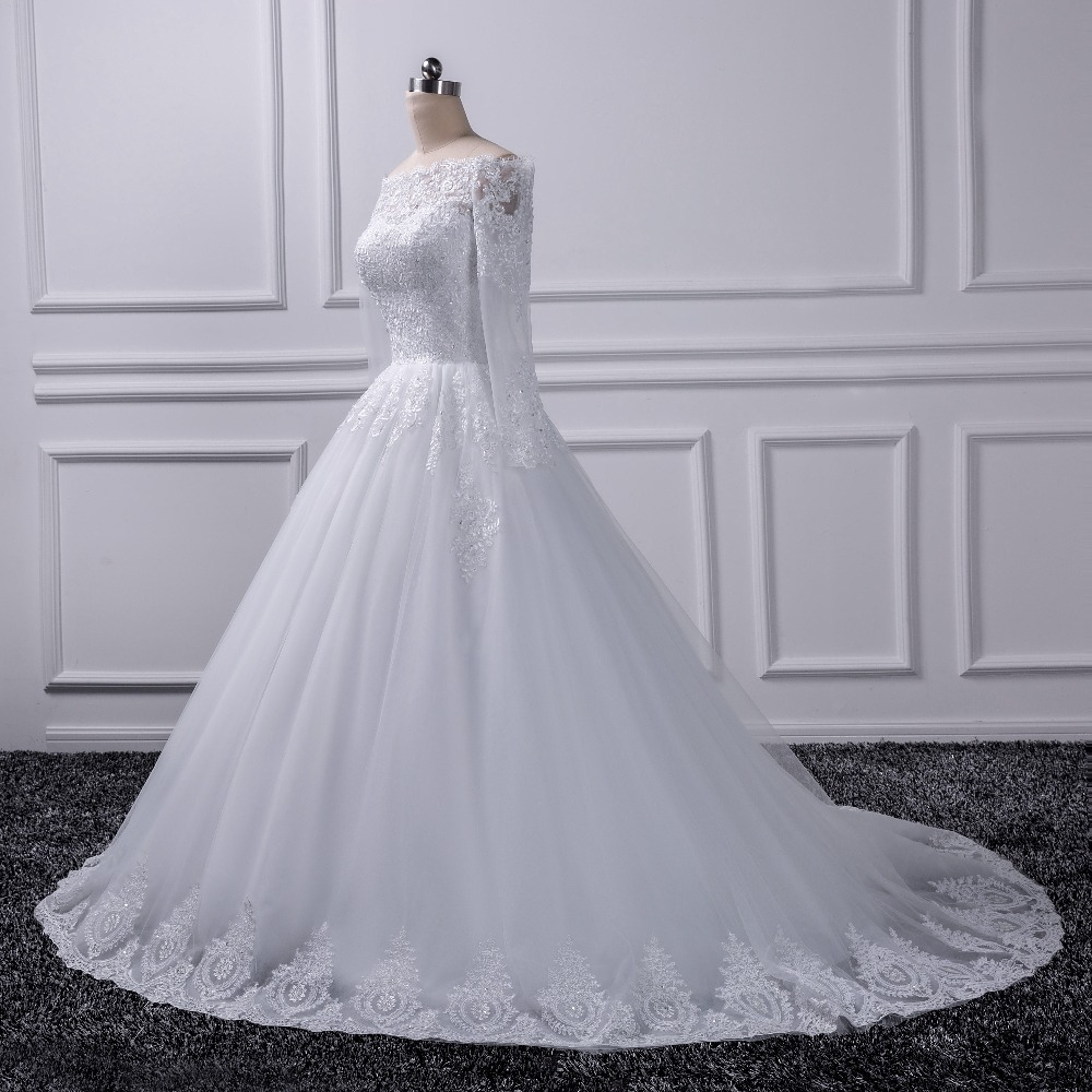 2018 Luxury Vintage Long Sleeves Off Shoulder Wedding Dresses Princess Lace Alliques Bridal Bride Gowns Robe De Mariage In From Weddings