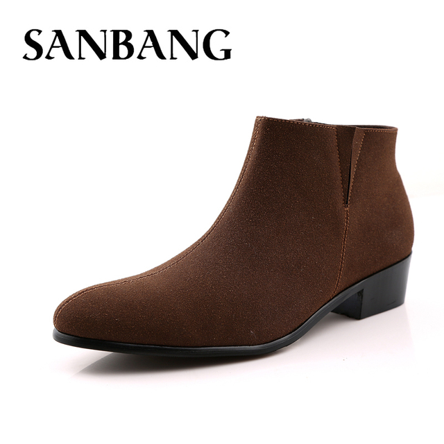 Men s Black Classic Chelsea Natural Suede Leather Boots Male Brown Heel  Riding Buckle Fashion Stylish Camel Ankle Boots ay5 52c4c6cdc