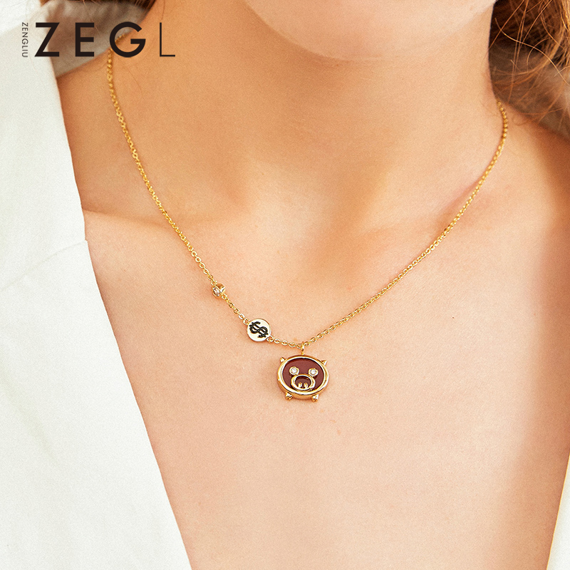 ZEGL animal necklace pig necklace personalized necklace red agate necklace chokers necklaces for women