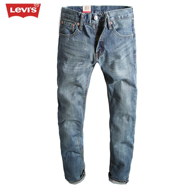 2017 Levi's 511 Series Men Jeans Washed Bleached Pleated Denim Long Pants Casual Straight Trousers Women Mens Fashion 2400