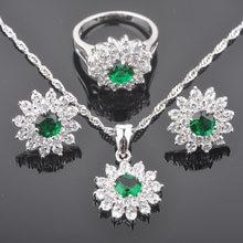9b15f37a4d34 Diseño de flor verde Zirconia para mujer Plata de Ley 925 de conjuntos de  joyas colgante de collar pendientes anillo QZ0151