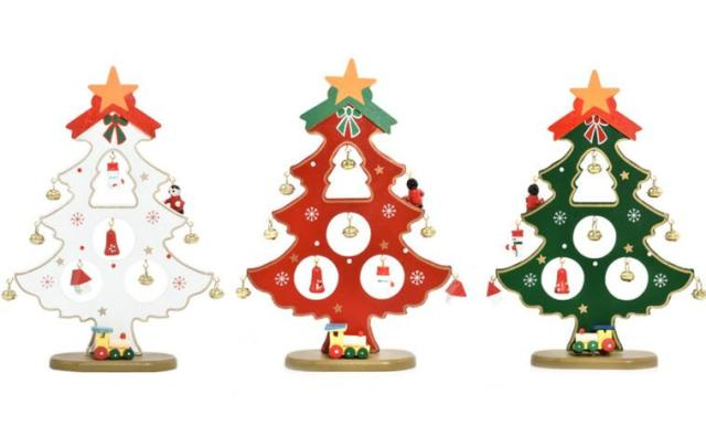 christmas decorationscreative diy wooden single bell little christmas tree