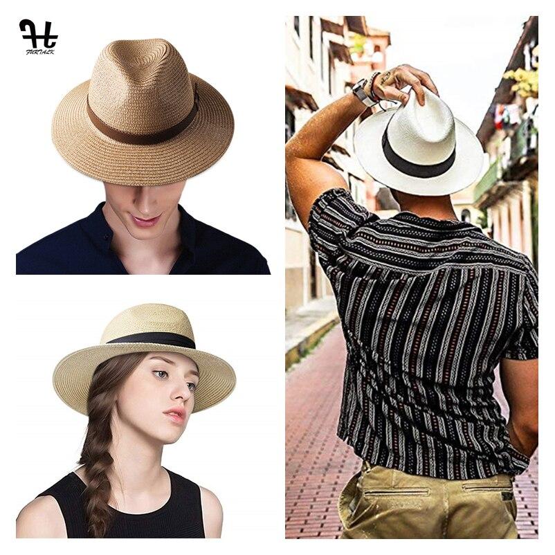 FURTALK Panama Hat Summer Sun Hats for Women Man Beach Straw Hat for Men UV Prot