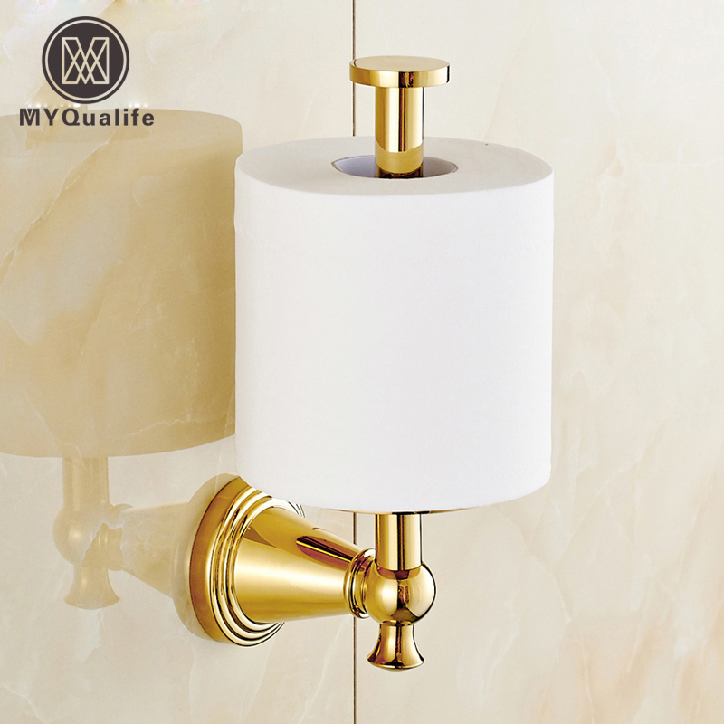 Free Shipping Wall Mounted Standing Toilet Paper Holder Golden Roll Bathroom Paper Tissue Rack aothpher paper roll holder bathroom accessories toilet paper holder wall mounted roll tissue holder