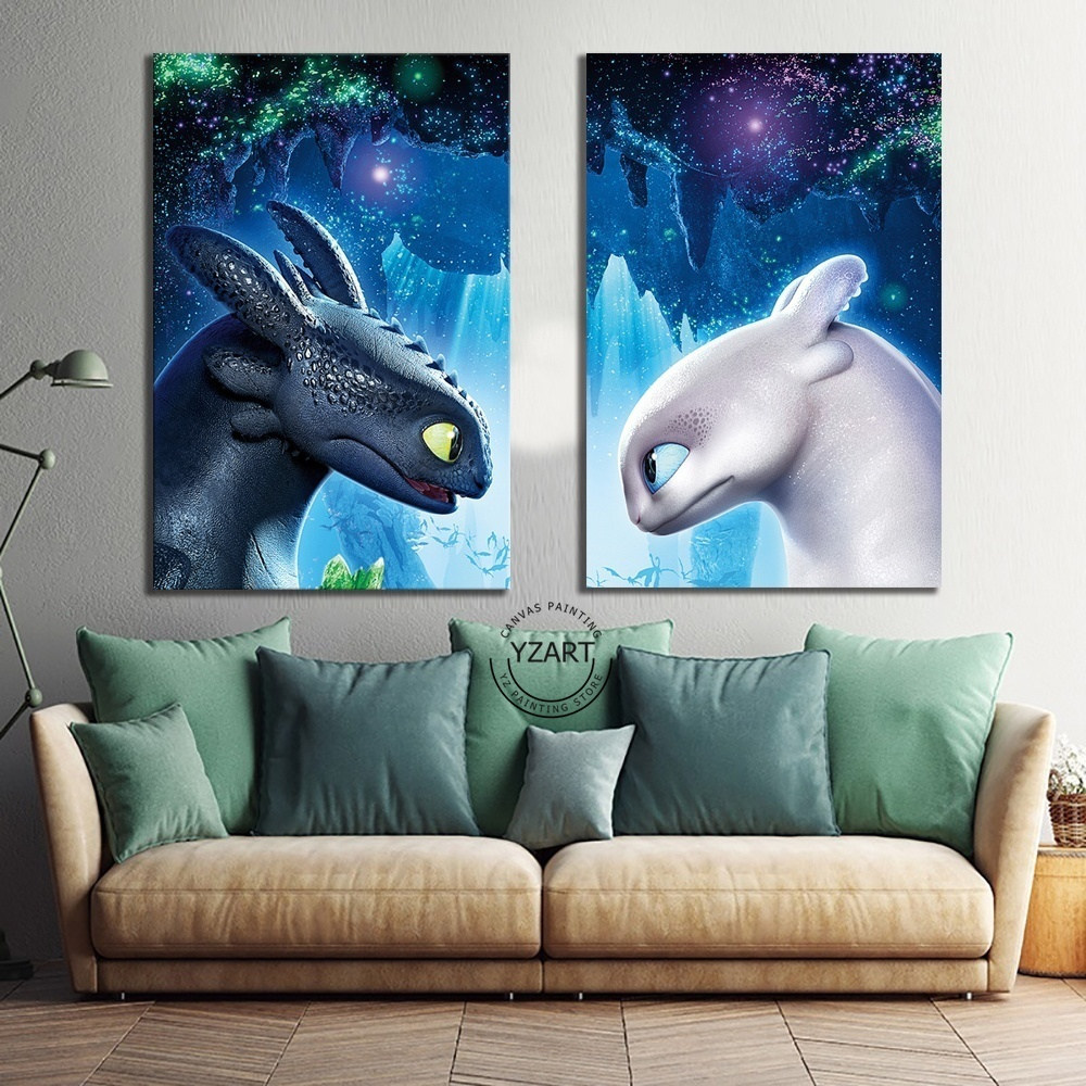 Canvas Poster Movie How To Train Your Dragon 3 The Hidden World Toothless Night Fury Picture