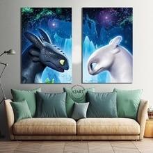 Холст плакат фильм Как приручить дракона 3: В Скрытая мира беззубый Night Fury фотография печати настенная живопись Home Decor