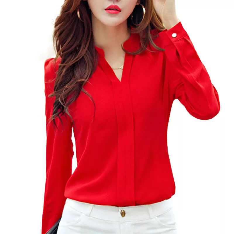 Long Sleeve Shirt Women Autumn Clothing Fashion Slim Chiffon Blouse V Neck Korean Elegant Ladies Office Shirts White Red DF2324