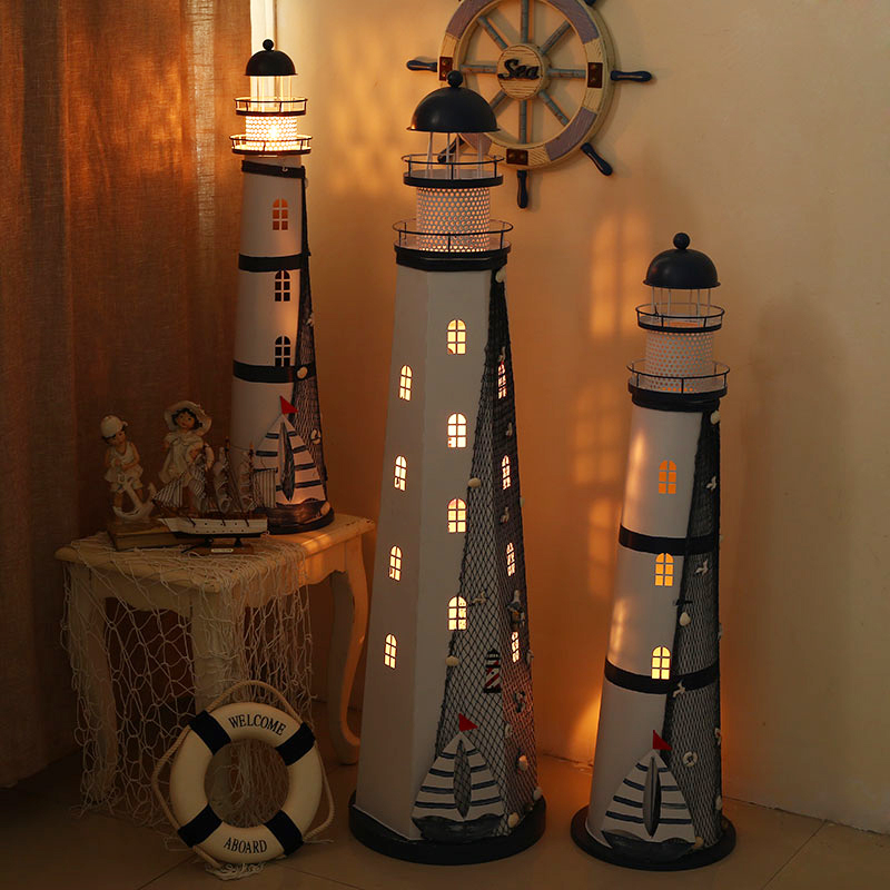 Decorated Workshop Mediterranean Lighthouse Decorated Marine Model Lighthouse Creative Decor Candle Lamp Crafts