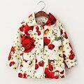Bebé Ropa de Primavera Floral Abrigo de Las Niñas de Algodón Gira el Collar Abajo de La Muchacha Chaquetas y Abrigos de Los Niños Ropa de Abrigo Jaqueta
