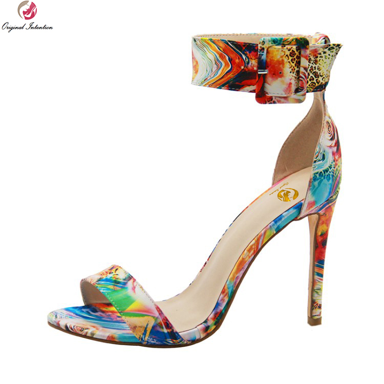 Original Intention <font><b>2018</b></font> New <font><b>Sexy</b></font> Women Sandals Nice Open Toe Thin High <font><b>Heels</b></font> Sandals Multi Colors <font><b>Shoes</b></font> Woman Plus US Size 3-14 image