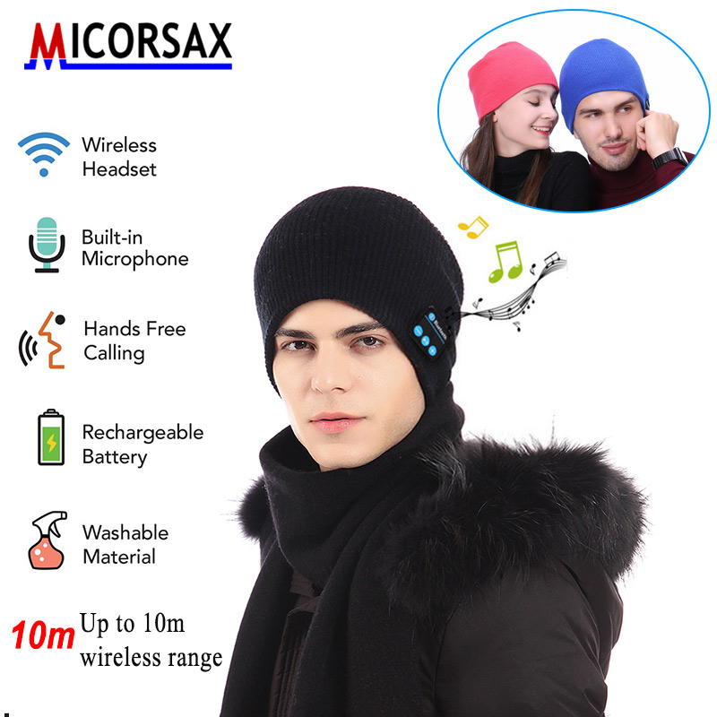 MICORSA Winter Bluetooth Headset Knit Hats Bluetooth 4.0 Fashion Music Player Hat Wireless Headphone with Mic Beanie Hat Gif