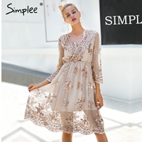 Simplee V neck long sleeve sequin party dresses women Sexy mesh streetwear casual midi dress female 2017 autumn dress vestido