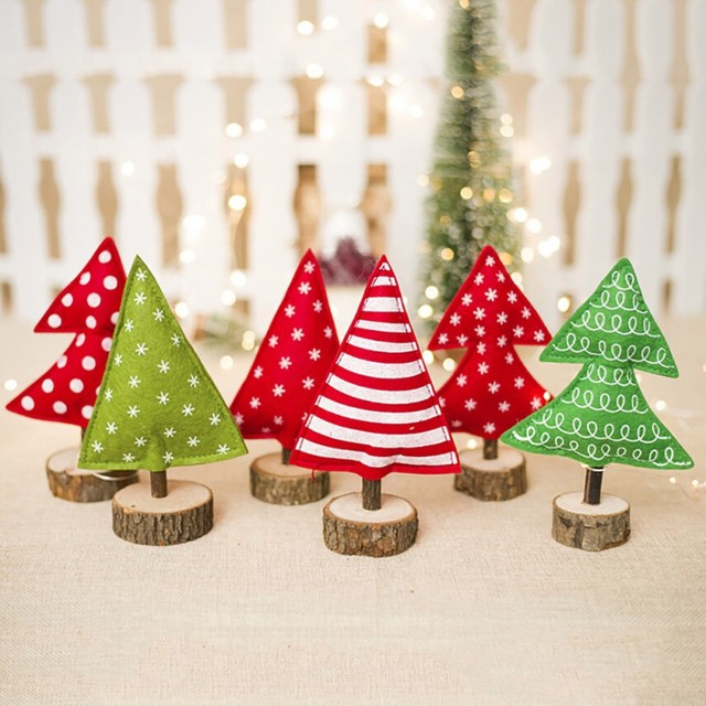 Christmas Tree Creative Ornaments Sitting Mini Xmas Decoration Wooden Stakes Home Garden Festive