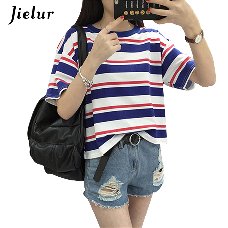 Harajuku 2019 Summer Fashion Hit Color Striped T-Shirt Mujer O-cuello flojo lindo camiseta ocasional Girls Street Disfraz para mujeres XL
