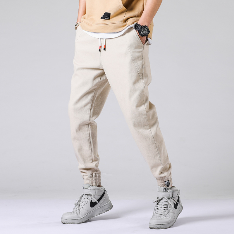 Male Trousers Harem-Pants Stretch Elastic-Waist-Drawstring Men Loose Plus-Size Tide Spliced