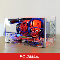 QDIY PC D889XS Horizontal ATX PC Case Acrylic Transparent Clear Desktop PC Water Cooled Game Player Computer Case