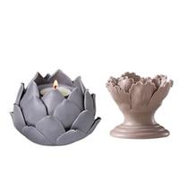Ceramic Candlestick Wedding Decor Lantern Modern Flower Stand Wedding Lotus Candle Holder Portavela Candles Home Decoration 4K19