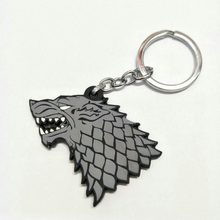 Game of Thrones Cosplay PVC Keychain House Stark of Winterfell Wolf's head Pendant Doll Toy Cute Llavero Chaveiro jewelry bijoux(China)