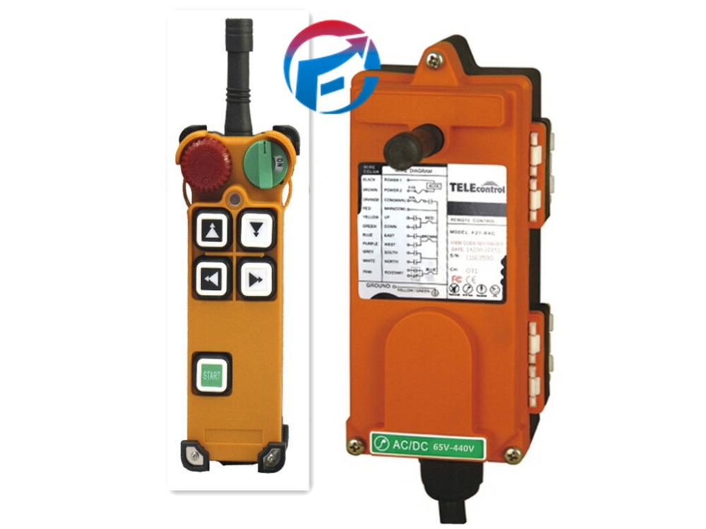F21-4D 4 Channels 2 Speed Overhead Hoist Wireless Crane Radio Remote Control Switch Multi voltage 18~440V (1 T+1 Receiver) f21 2d hoist crane wireless remote control switch double speed button 1 transmitter 1 receiver 65 440v