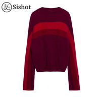 Sishot Women Casual Knitwear 2017 Autumn Winter Burgundy Long Sleeve Color Block O Neck Slim Patchwork