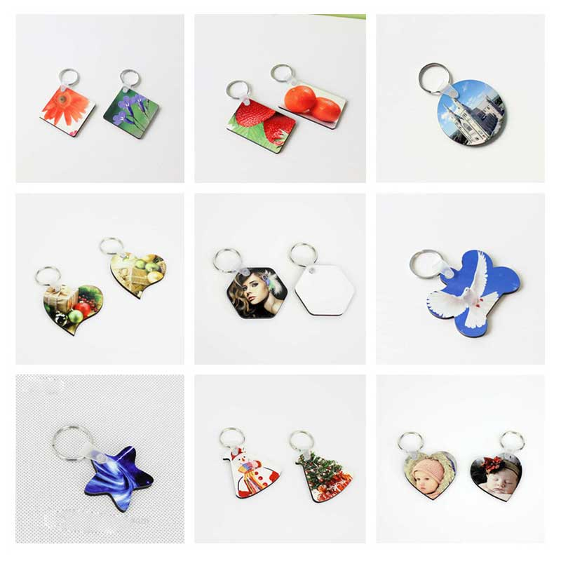 sublimation mdf keychains heart round rectangle square ellipse key ring for hot transfer printing DIY blank