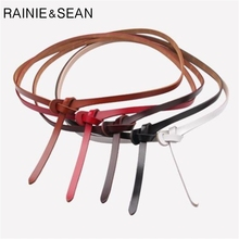 RAINIE SEAN Women Belt Without Buckle Genuine Leather Thin Female Knot Belt Vintage Self Tie Cowskin Ladies Belts For Dresses self tie belt