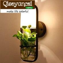 Qiseyuncai Американский минималистский Творческий растение в горшке Стекло бра кровать столовая ТВ украшения стены светильник